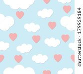heart and clouds pattern on... | Shutterstock . vector #179929184
