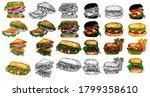 vector fast food illustrations... | Shutterstock .eps vector #1799358610