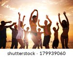 diverse young happy people... | Shutterstock . vector #179939060