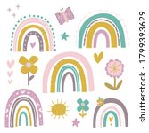 a cute set of rainbows and...   Shutterstock .eps vector #1799393629