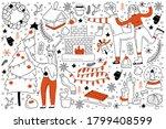 winter doodle set. collection...