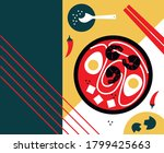 bright asian food background... | Shutterstock .eps vector #1799425663
