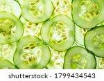 A Sliced Cucumber Close Up  ...