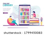 smartphone with various books...   Shutterstock .eps vector #1799450083