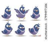 icon set of bird character set. ... | Shutterstock .eps vector #1799497186