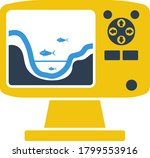 icon of echo sounder. flat...