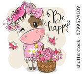 cute cartoon cow with flowers...   Shutterstock .eps vector #1799574109