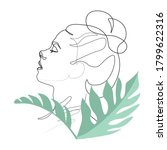 Continuous line, drawing of set faces and hairstyle, fashion concept, woman beauty minimalist, vector illustration pretty sexy.leaves