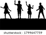 dancing children silhouettes ... | Shutterstock . vector #1799647759