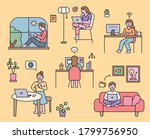 people who work from home in... | Shutterstock .eps vector #1799756950