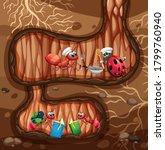 underground scene with ants... | Shutterstock .eps vector #1799760940