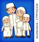 muslim family member on cartoon ...   Shutterstock .eps vector #1799762236