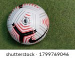 Small photo of BANGKOK,THAILAND -AUGUST 15: Close-Up on Nike Flight The Official English Premier League Match 20/21 Ball on the Artificial Grass on August 15,2020