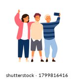 group of smiling friends or... | Shutterstock .eps vector #1799816416