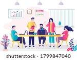 modern office room interior.... | Shutterstock .eps vector #1799847040