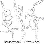 rhythmic gymnastics   outlines   Shutterstock .eps vector #179989226