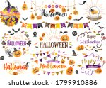 lots of cute halloween... | Shutterstock .eps vector #1799910886