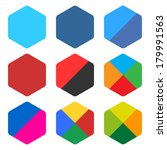 9 blank rounded hexagon icon... | Shutterstock .eps vector #179991563