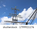Mast With Square Rigging And...