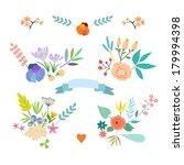 hand drawn vintage floral... | Shutterstock .eps vector #179994398