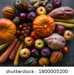Fresh Vegetables On Grey Table. ...