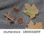 Dried Maple Leaves On A Rough...