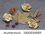 Dried Roses And Maple Leaves On ...