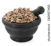 Small photo of Cocklebur xanthium fruit chinese herbal medicine in a black stone mortar with pestle over white background. Cang er zi
