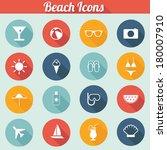 flat design beach icons   sun ... | Shutterstock .eps vector #180007910