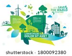 ecology.green cities help the... | Shutterstock .eps vector #1800092380