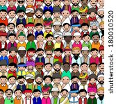 Big crowd of Indian men vector avatar illustration - Indian men representing different states/religions of India.