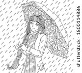 girl in coat with umbrella.... | Shutterstock .eps vector #1800114886