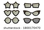 set of black cartoon eye... | Shutterstock .eps vector #1800170470