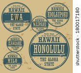 Grunge rubber stamp set with names of Hawaii cities, vector illustration