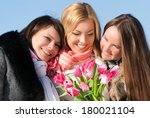 three beautiful young women... | Shutterstock . vector #180021104