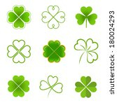 set of clovers with four and... | Shutterstock .eps vector #180024293