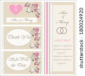 set of wedding invitations and... | Shutterstock .eps vector #180024920