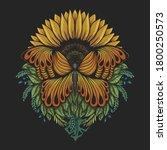 Sunflower Butterfly Vector...