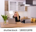 young housewife thinking about... | Shutterstock . vector #180031898