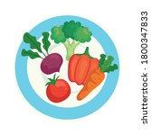vegetables fresh in plate  on... | Shutterstock .eps vector #1800347833