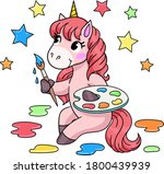 cute cartoon unicorn with... | Shutterstock .eps vector #1800439939