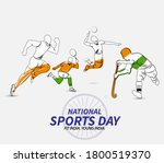 national sports day. vector... | Shutterstock .eps vector #1800519370