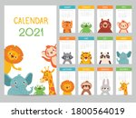 animals calendar 2021. cute... | Shutterstock .eps vector #1800564019