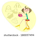 girl selecting purse and... | Shutterstock .eps vector #180057494
