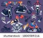 biker on motorcycle vector... | Shutterstock .eps vector #1800589216