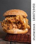 Small photo of Crispy and tasty zinger burger closeup