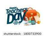 happy teacher's day card design ... | Shutterstock . vector #1800733900
