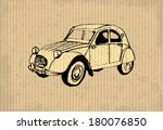 Old-timer - citroen 2 cv 1964, illustration on a cartboard - stock vector