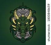 Dragon Head Ornament Vector...