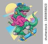 humorous t rex dinosaur riding... | Shutterstock .eps vector #1800858823